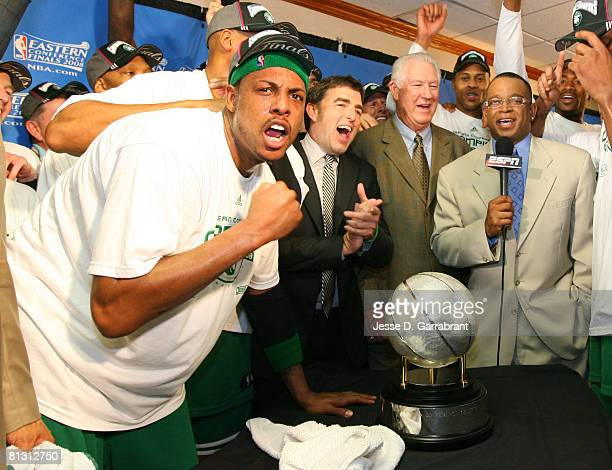 Paul Pierce of the Boston Celtics celebrates with team owner Wyc Grousbeck and John Havlicek after defeating the detroit Pistons in Game Six of the...
