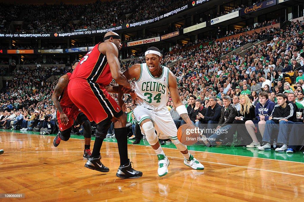 Paul Pierce #34 of the Boston Celtics drives against Erick Dampier #25 of the Miami Heat on February 13, 2011 at the TD Garden in Boston, Massachusetts.