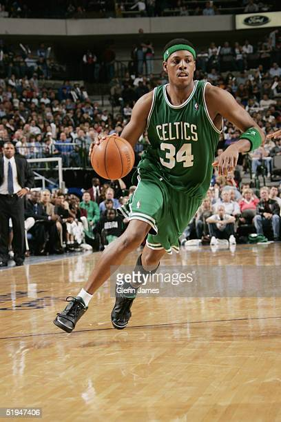 Paul Pierce of the Boston Celtics drives against the Dallas Mavericks during the game at American Airlines Arena on December 28 2004 in Dallas Texas...