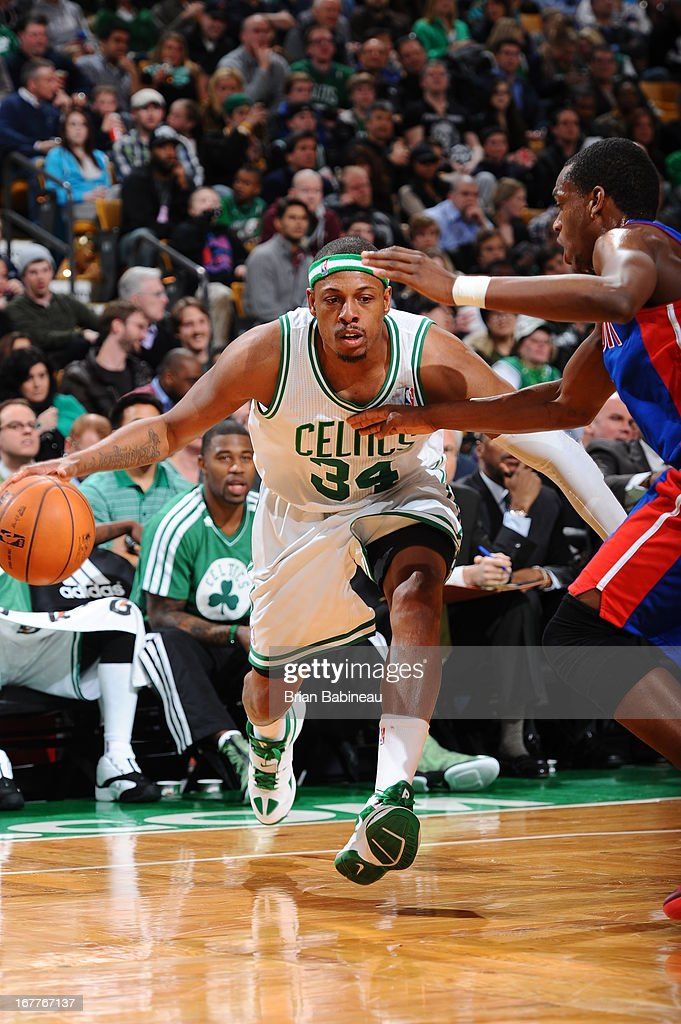 Paul Pierce #34 of the Boston Celtics drives against the Detroit Pistons on April 3, 2013 at the TD Garden in Boston, Massachusetts.