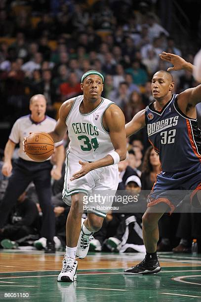 Paul Pierce of the Boston Celtics drives the ball against Boris Diaw of the Charlotte Bobcats during the game on April 1 2009 at TD Banknorth Garden...