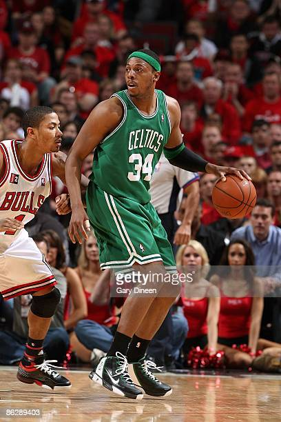 Paul Pierce of the Boston Celtics drives the ball against Derrick Rose of the Chicago Bulls in Game Four of the Eastern Conference Quarterfinals...