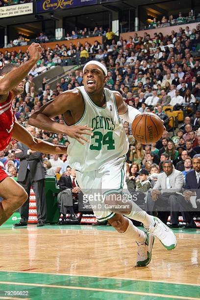 Paul Pierce of the Boston Celtics drives the ball against the Houston Rockets during the game on January 2 2008 at the TD Banknorth Garden in Boston...