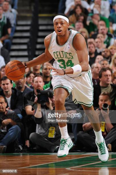 Paul Pierce of the Boston Celtics drives the ball upcourt against the Miami Heat in Game One of the Eastern Conference Quarterfinals during the 2010...