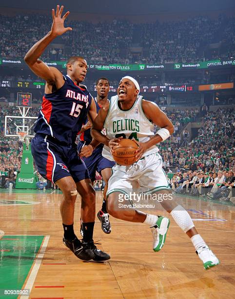 Paul Pierce of the Boston Celtics drives the lane against Al Horford of the Atlanta Hawks in Game Five of the Eastern Conference Quarterfinals during...