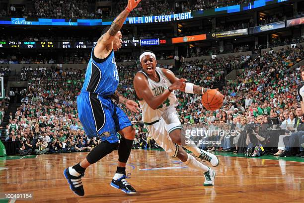 Paul Pierce of the Boston Celtics drives to the basket against Matt Barnes of the Orlando Magic in Game Four of the Eastern Conference Finals during...