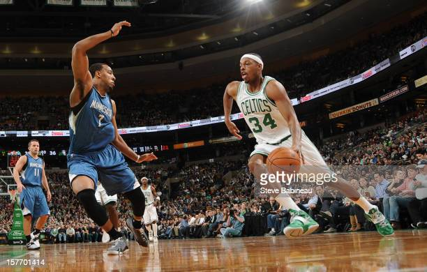 Paul Pierce of the Boston Celtics drives to the basket against Derrick Williams of the Minnesota Timberwolves on December 5 2012 at the TD Garden in...