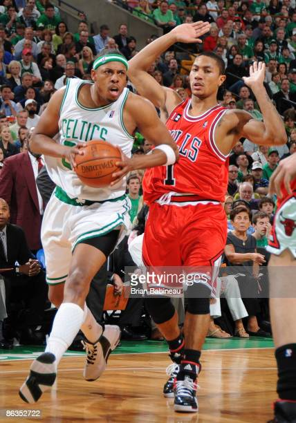 Paul Pierce of the Boston Celtics drives to the basket against Derrick Rose of the Chicago Bulls in Game Seven of the Eastern Conference...