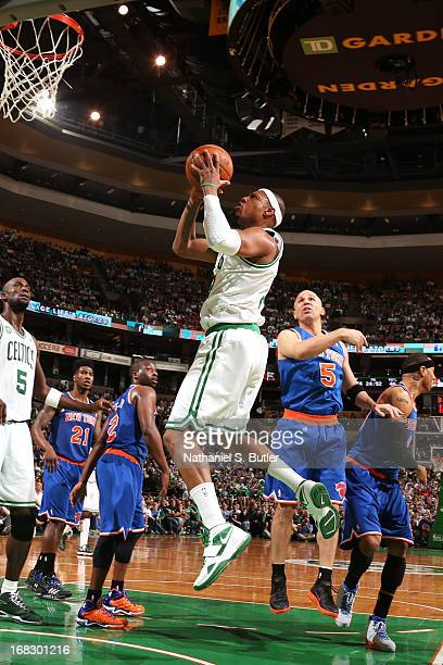 Paul Pierce of the Boston Celtics drives to the basket against the New York Knicks in Game Four of the Eastern Conference Quarterfinals during the...