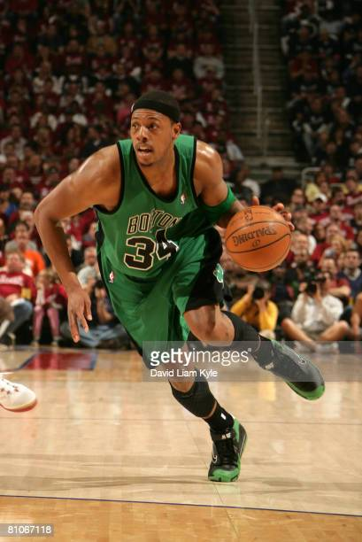 Paul Pierce of the Boston Celtics drives to the basket against the Cleveland Cavaliers in Game Four of the Eastern Conference Semifinals during the...