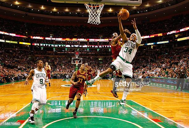 Paul Pierce of the Boston Celtics drives to the basket in front of Kyrie Irving of the Cleveland Cavaliers during the game on December 19 2012 at TD...