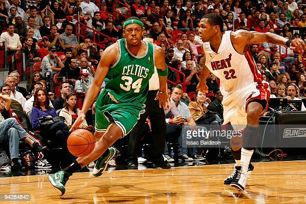 Paul Pierce of the Boston Celtics drives to the basket past James Jones of the Miami Heat during the game on November 29 2009 at American Airlines...