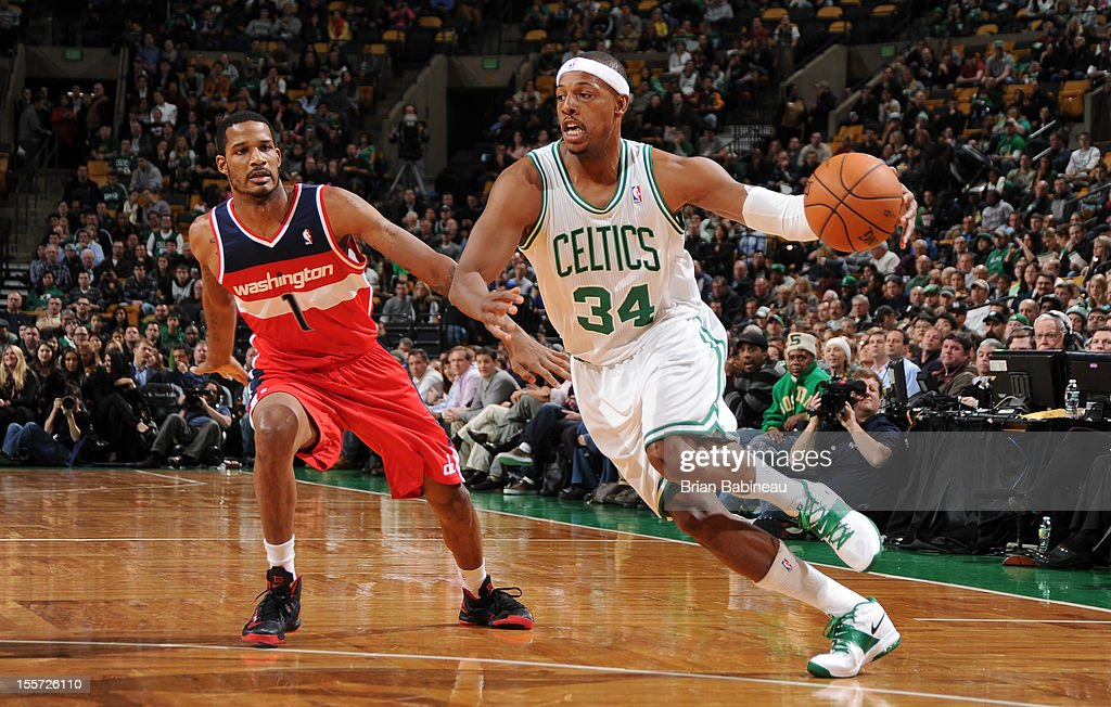 Paul Pierce #34 of the Boston Celtics drives to the hoop against Trevor Ariza #1 of the Washington Wizards on November 7, 2012 at the TD Garden in Boston, Massachusetts.