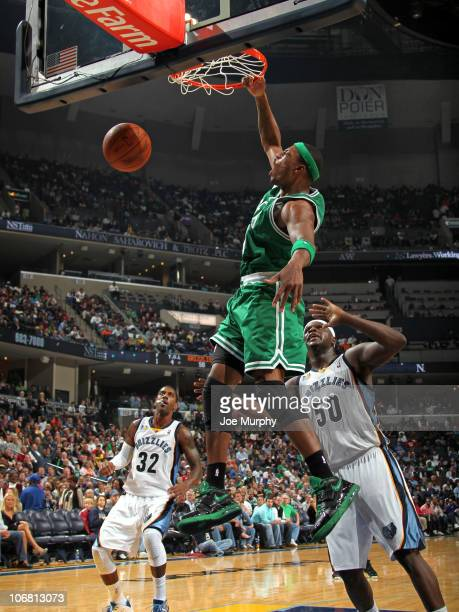 Paul Pierce of the Boston Celtics dunks against Zach Randolph of the Memphis Grizzlies on November 13 2010 at FedExForum in Memphis Tennessee NOTE TO...