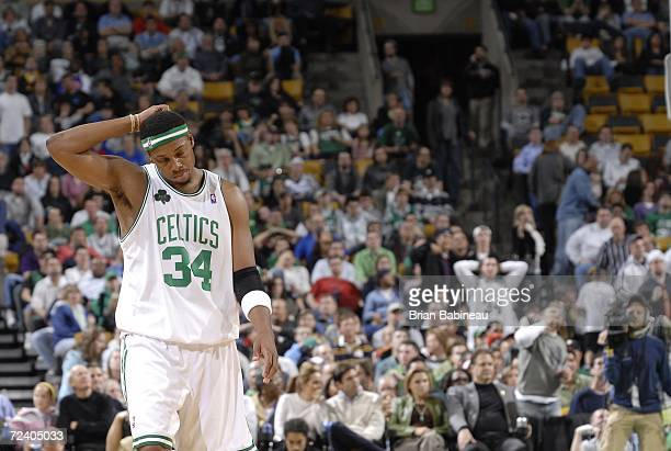Paul Pierce of the Boston Celtics gets disappointed against the Detroit Pistons on November 3 2006 at the TD Banknorth Garden in Boston Massachusetts...
