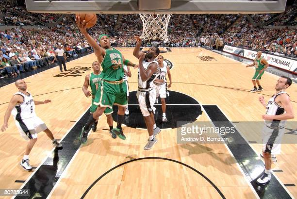 Paul Pierce of the Boston Celtics gets to the hoop against the San Antonio Spurs at the AT&T Center on March 17, 2008 in San Antonio, Texas. NOTE TO...