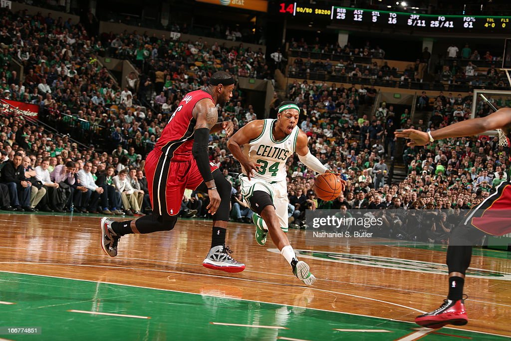 Paul Pierce #34 of the Boston Celtics glides to the rim against the Miami Heat during a game on March 18, 2013 at TD Garden in Boston, Massachusetts.