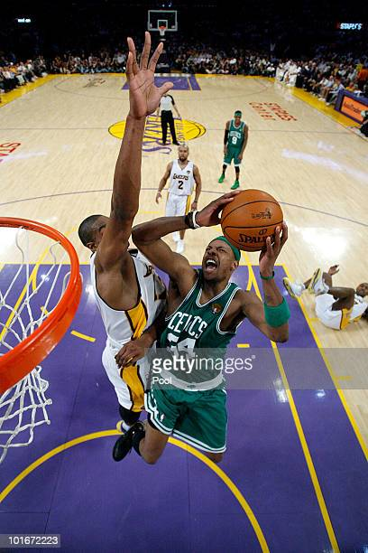 Paul Pierce of the Boston Celtics goes to the basket against Andrew Bynum of the Los Angeles Lakers in Game Two of the 2010 NBA Finals at Staples...