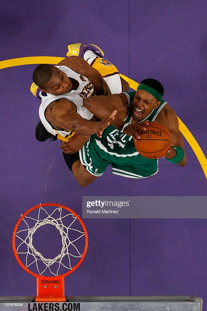 Paul Pierce #34 of the Boston Celtics goes to the basket against Andrew Bynum #17 of the Los Angeles Lakers in Game Two of the 2010 NBA Finals at Staples Center on June 6, 2010 in Los Angeles, California.