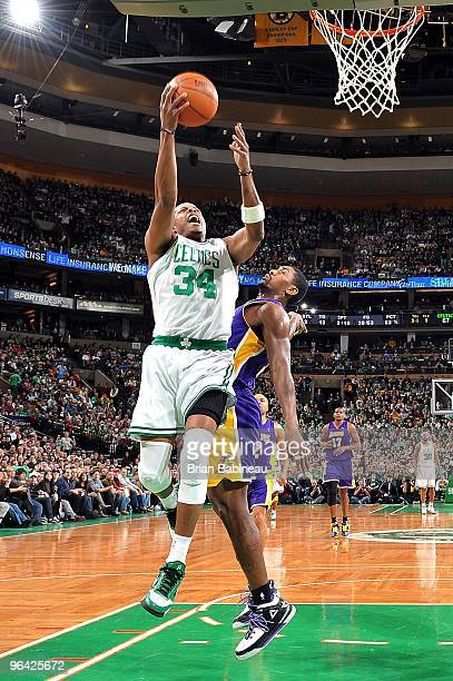 Paul Pierce of the Boston Celtics goes to the basket against Ron Artest of the Los Angeles Lakers during the game on January 31, 2010 at TD Banknorth...