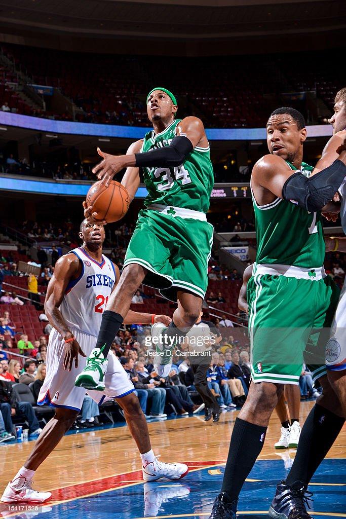 Paul Pierce #34 of the Boston Celtics goes to the basket against the Philadelphia 76ers during a pre-season game at the Wells Fargo Center on October 15, 2012 in Philadelphia, Pennsylvania.