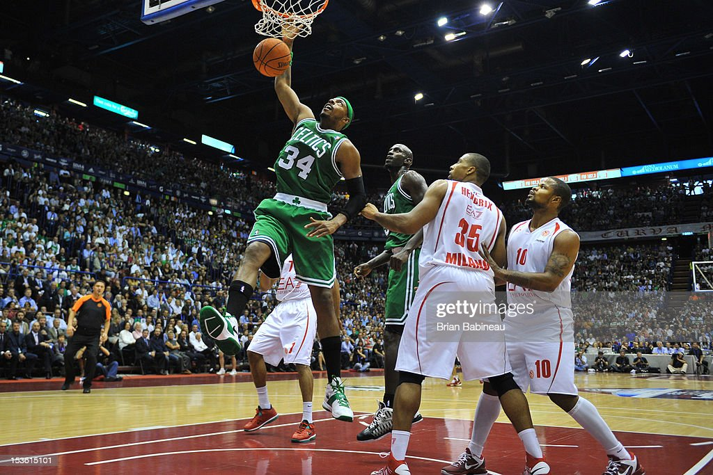 Paul Pierce #34 of the Boston Celtics goes to the basket during the game between the Boston Celtics and the EA7 Emporio Armani Milano on October 7, 2012 at Mediolanum Forum in Milan, Italy.