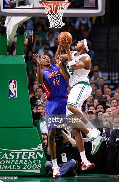 Paul Pierce of the Boston Celtics goes to the hoop against Theo Ratliff of the Detroit Pistons during Game One of the 2008 NBA Eastern Conference...