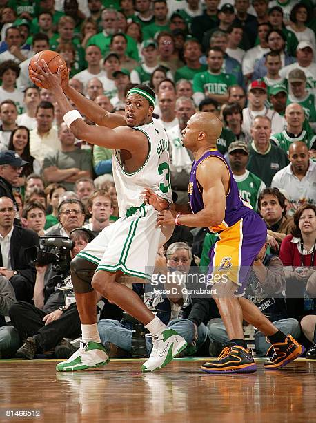 Paul Pierce of the Boston Celtics goes up against Derek Fisher of the Los Angeles Lakers in Game One of the 2008 NBA Finals on June 5 2008 at the TD...