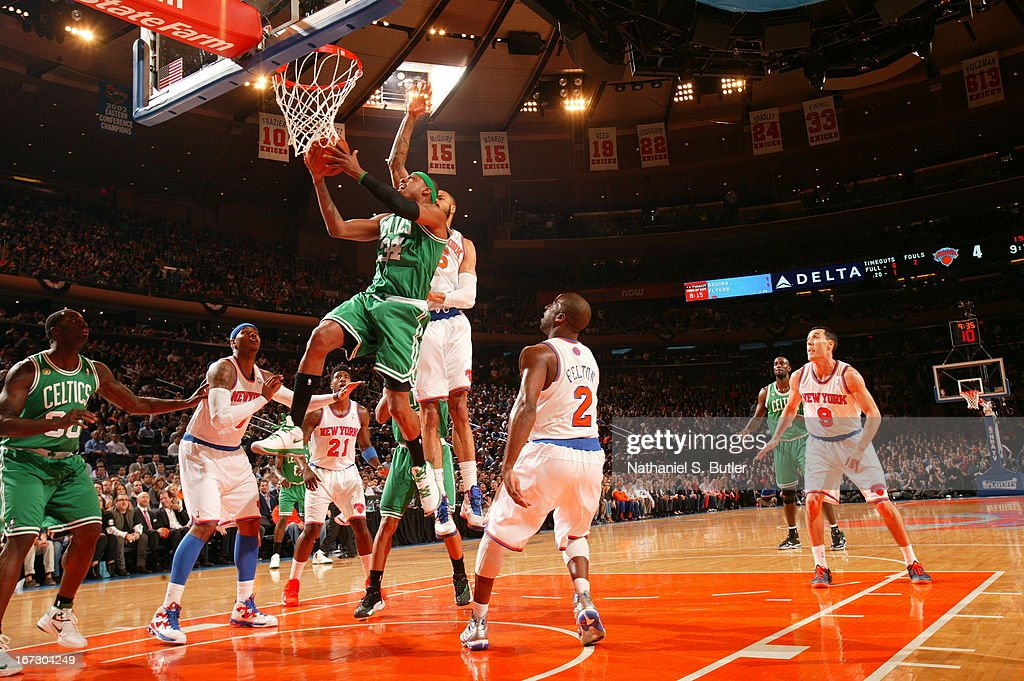 Paul Pierce #34 of the Boston Celtics goes up for the layup against the New York Knicks in Game Two of the Eastern Conference Quarterfinals during the 2013 NBA Playoffs on April 23, 2013 at Madison Square Garden in New York City.