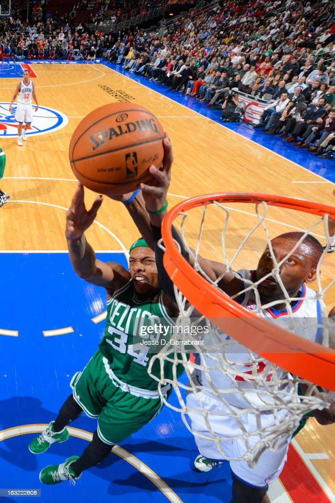 Paul Pierce #34 of the Boston Celtics grabs a rebound against the Philadelphia 76ers on March 5, 2013 at the Wells Fargo Center in Philadelphia, Pennsylvania.