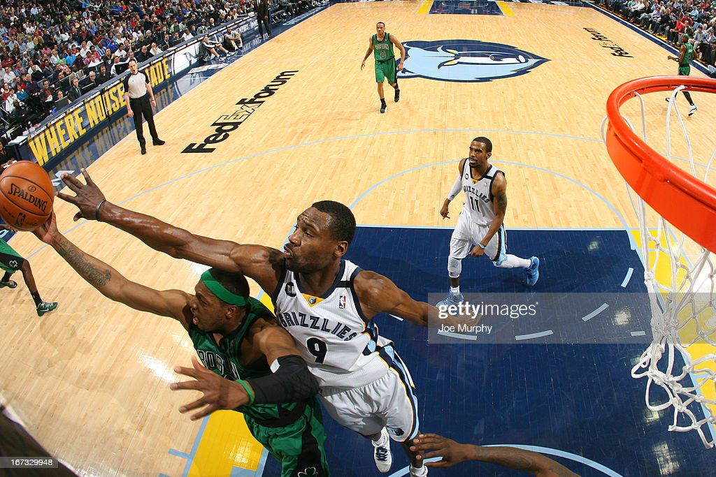 Paul Pierce #34 of the Boston Celtics grabs a rebound against the Memphis Grizzlies on March 23, 2013 at FedExForum in Memphis, Tennessee.