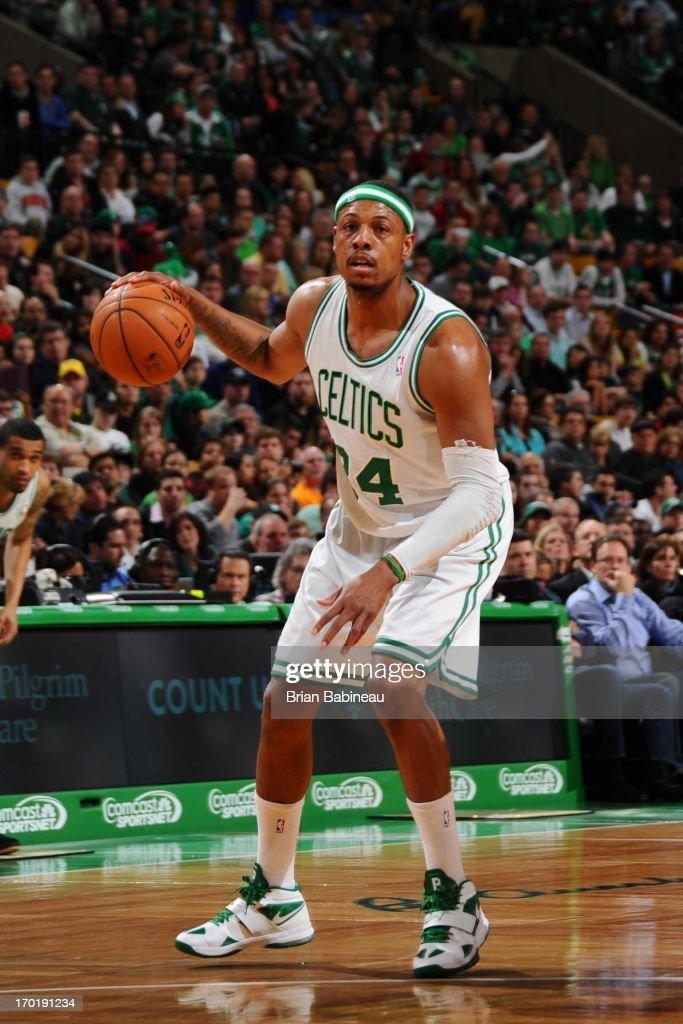 Paul Pierce #34 of the Boston Celtics handles the ball against the Atlanta Hawks on March 29, 2013 at the TD Garden in Boston, Massachusetts.