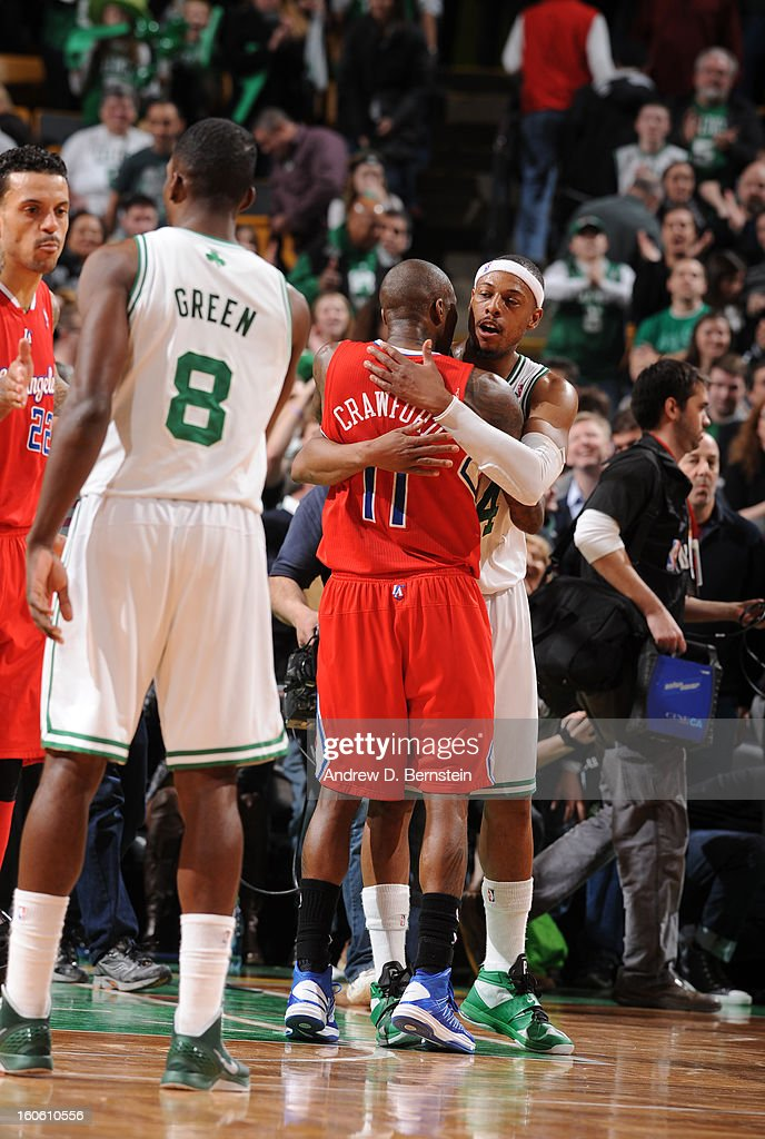 Paul Pierce #34 of the Boston Celtics hugs Jamal Crawford #11 of the Los Angeles Clippers during the game between the Boston Celtics and the Los Angeles Clippers on February 3, 2013 at the TD Garden in Boston, Massachusetts.