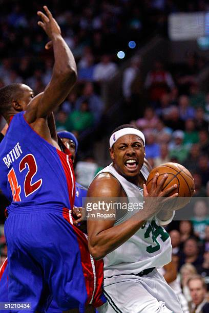 Paul Pierce of the Boston Celtics is defended by Theo Ratliff of the Detroit Pistons during Game Two of the 2008 NBA Eastern Conference finals at the...