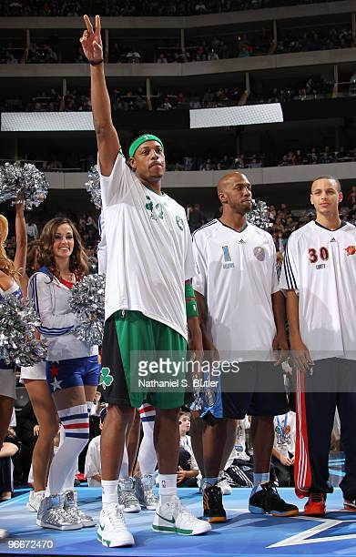 Paul Pierce of the Boston Celtics is introduced during the Foot Locker Three Point Contest on AllStar Saturday Night as part of the 2010 NBA AllStar...