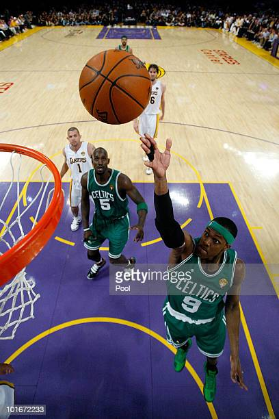 Paul Pierce of the Boston Celtics lays the ball up against the Los Angeles Lakers in Game Two of the 2010 NBA Finals at Staples Center on June 6 2010...