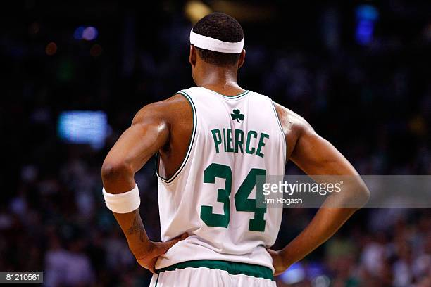 Paul Pierce of the Boston Celtics looks on against the Detroit Pistons during Game Two of the 2008 NBA Eastern Conference finals at the TD Banknorth...