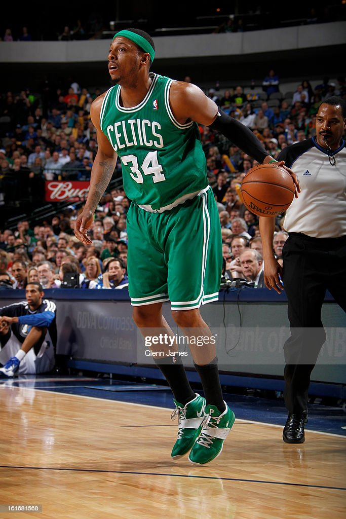 Paul Pierce #34 of the Boston Celtics looks to drive to the basket against the Dallas Mavericks on March 22, 2013 at the American Airlines Center in Dallas, Texas.