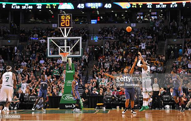 Paul Pierce of the Boston Celtics makes a three pointer to pass Larry Bird for second place on the Celtics all time scoring list with 21792 points...