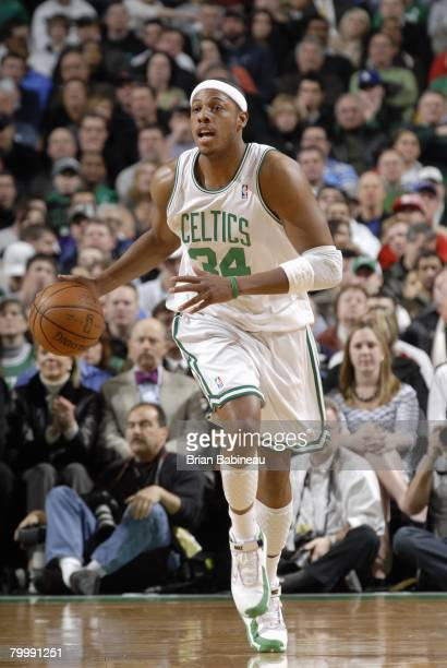 Paul Pierce of the Boston Celtics moves the ball up court during the game against Toronto Raptors at the TD Banknorth Garden on January 23 2008 in...