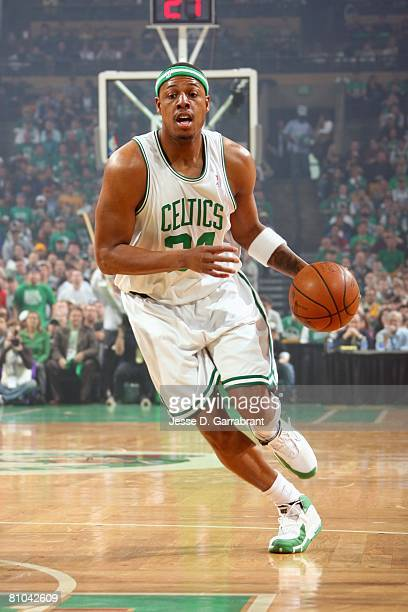 Paul Pierce of the Boston Celtics moves the ball up court in Game Seven of the Eastern Conference Quarterfinals against the Atlanta Hawks during the...