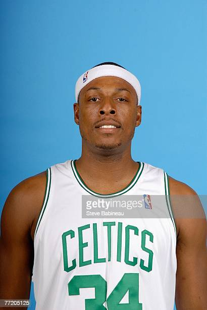 Paul Pierce of the Boston Celtics poses for a portrait during NBA Media Day at the Celtics Practice Facility on September 28 2007 in Waltham...