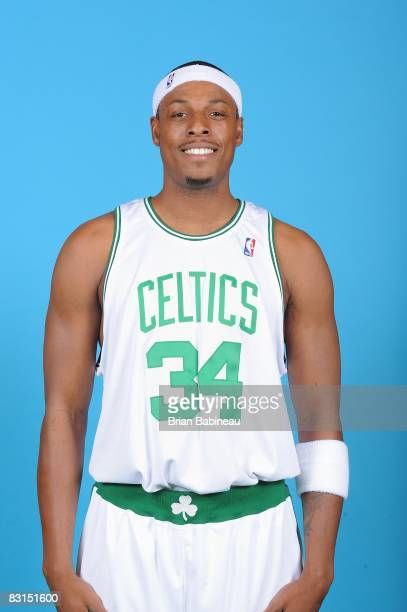 Paul Pierce of the Boston Celtics poses for a portrait during NBA Media day on September 29 2008 at the Sports Authority Training Center in Waltham...