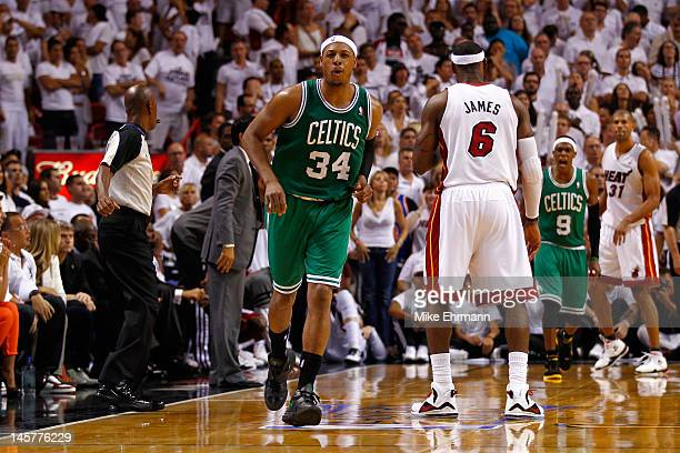 Paul Pierce of the Boston Celtics reacts after he made a 3point basket in the final minute of the fourt quarter to give the Celtics a 9086 lead...