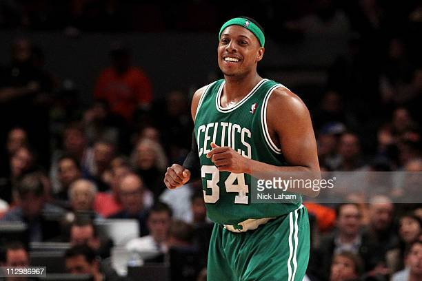 Paul Pierce of the Boston Celtics reacts against the New York Knicks in Game Three of the Eastern Conference Quarterfinals in the 2011 NBA Playoffs...