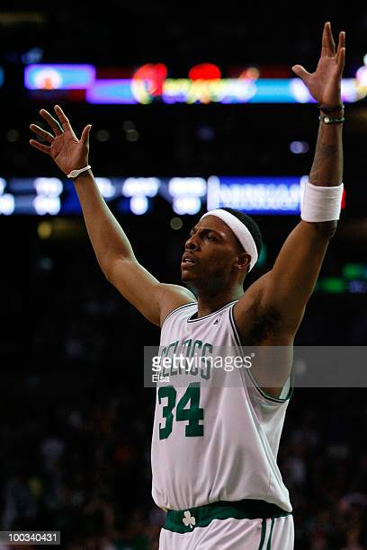 Paul Pierce of the Boston Celtics reacts against the Orlando Magic at TD Banknorth Garden in Game Three of the Eastern Conference Finals during the...