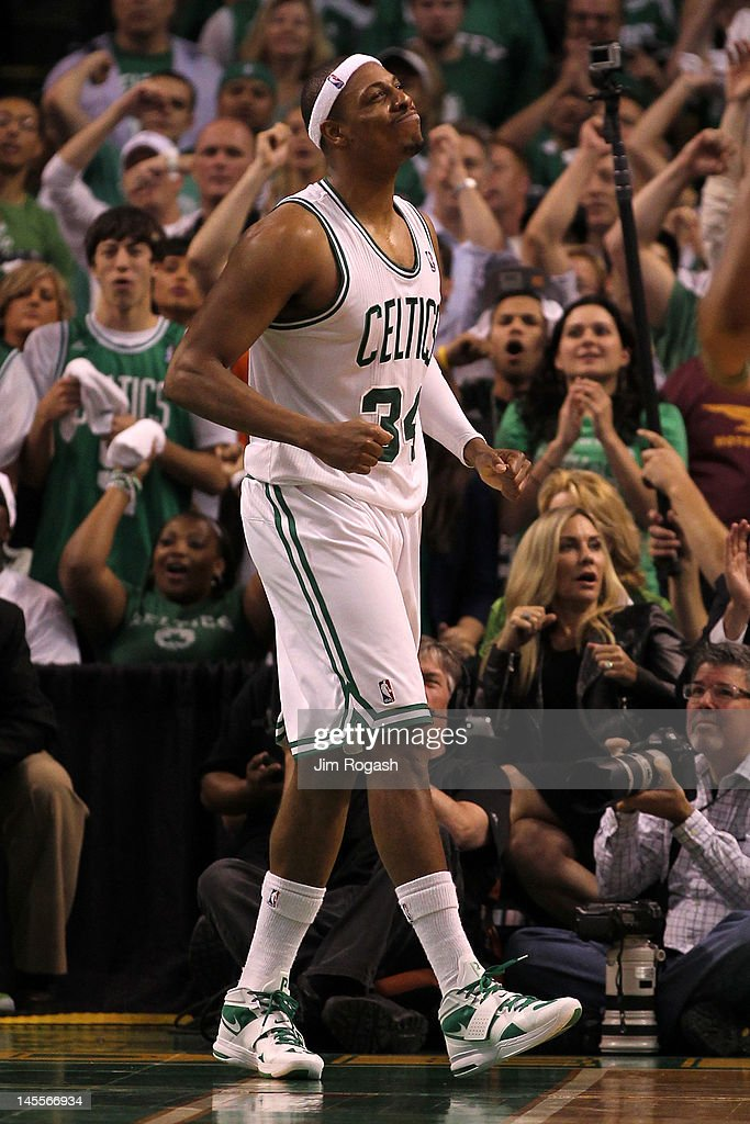 Paul Pierce #34 of the Boston Celtics reacts in the second half against the Miami Heat in Game Three of the Eastern Conference Finals in the 2012 NBA Playoffs on June 1, 2012 at TD Garden in Boston, Massachusetts.