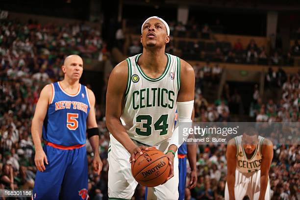 Paul Pierce of the Boston Celtics shoots a free throw against the New York Knicks in Game Four of the Eastern Conference Quarterfinals during the...