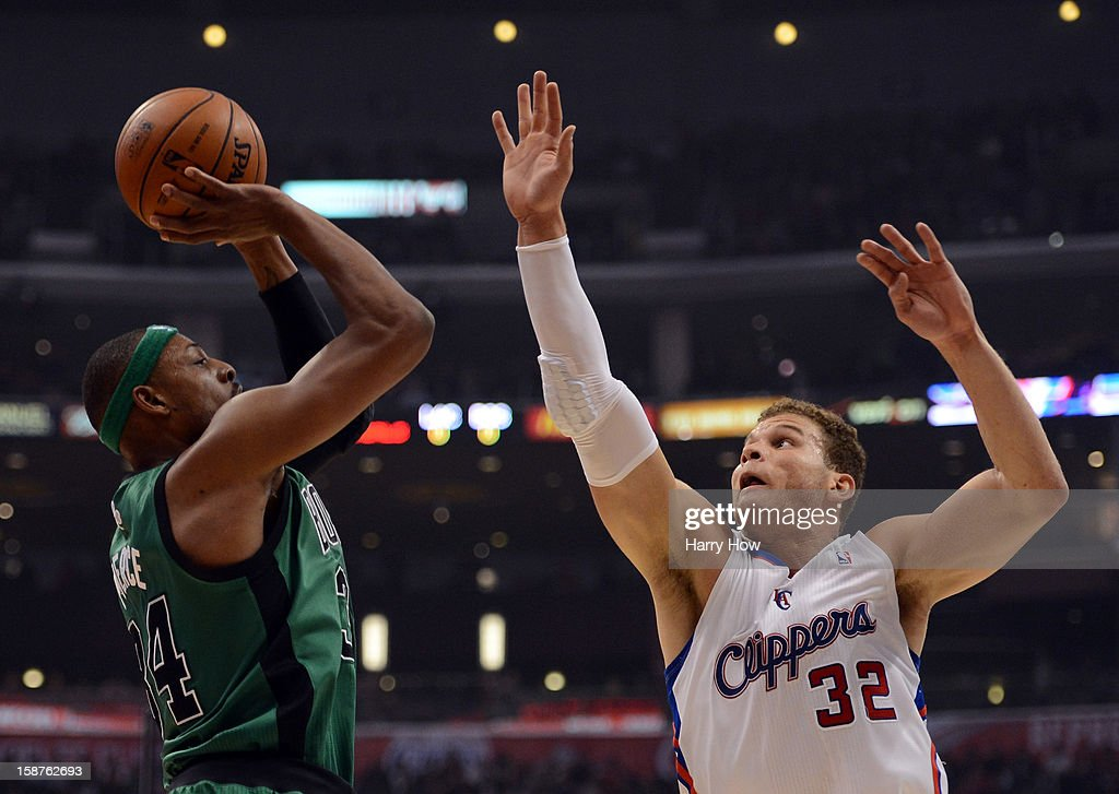 Paul Pierce #34 of the Boston Celtics shoots a jumper in front of Blake Griffin #32 of the Los Angeles Clippers at Staples Center on December 27, 2012 in Los Angeles, California.