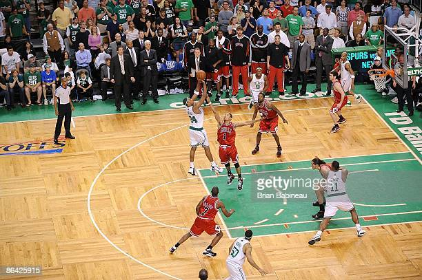 Paul Pierce of the Boston Celtics shoots a jumper over Derrick Rose of the Chicago Bulls in Game Five of the Eastern Conference Quarterfinals during...
